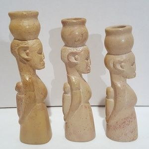 African Women Hand Carved Soapstone Candle Holders
